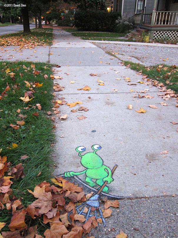 Chalk-drawn Adventures of Sluggo by David Zinn