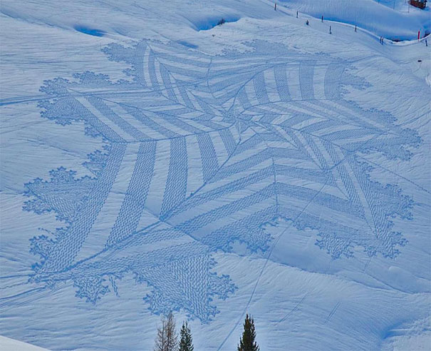 Incredible Trampled Snow Art by Simon Beck