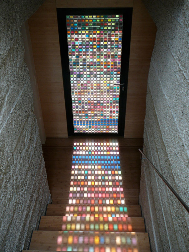 Stained Glass Door Made Of Pantone Swatches | Bored Panda