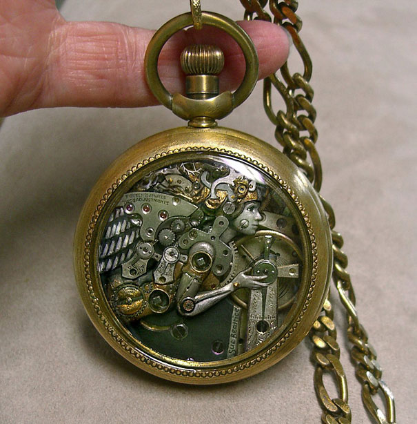 Artist Uses Old Watch Parts To Craft Tiny Intricate Steampunk Sculptures