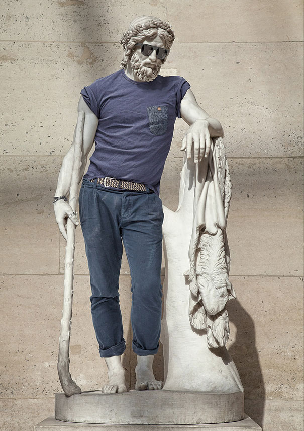 Classic Sculptures Dressed in Modern Outfits