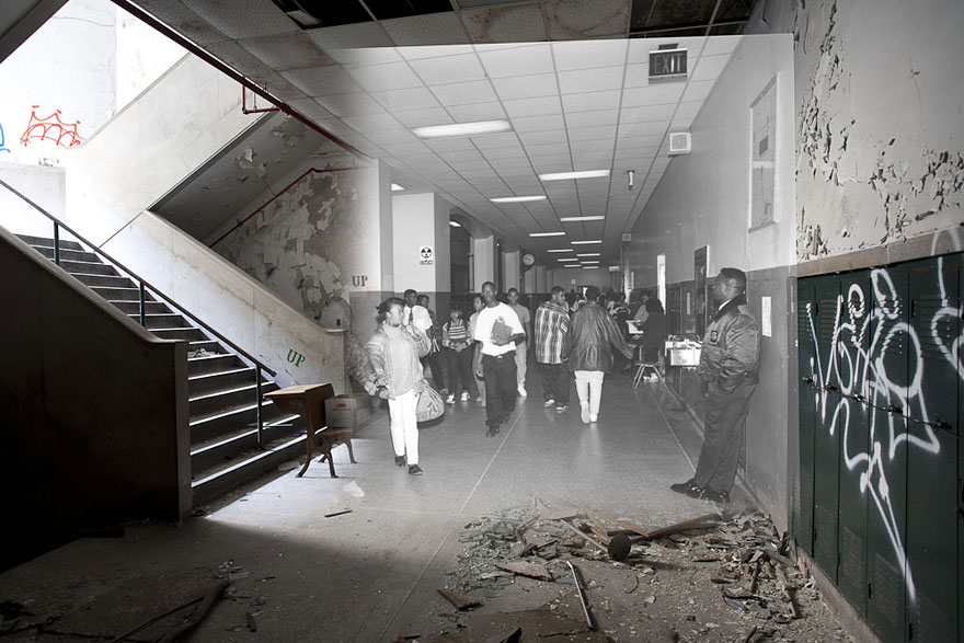 Then and now photos of abandoned detroit school bored panda - The house in the abandoned school ...