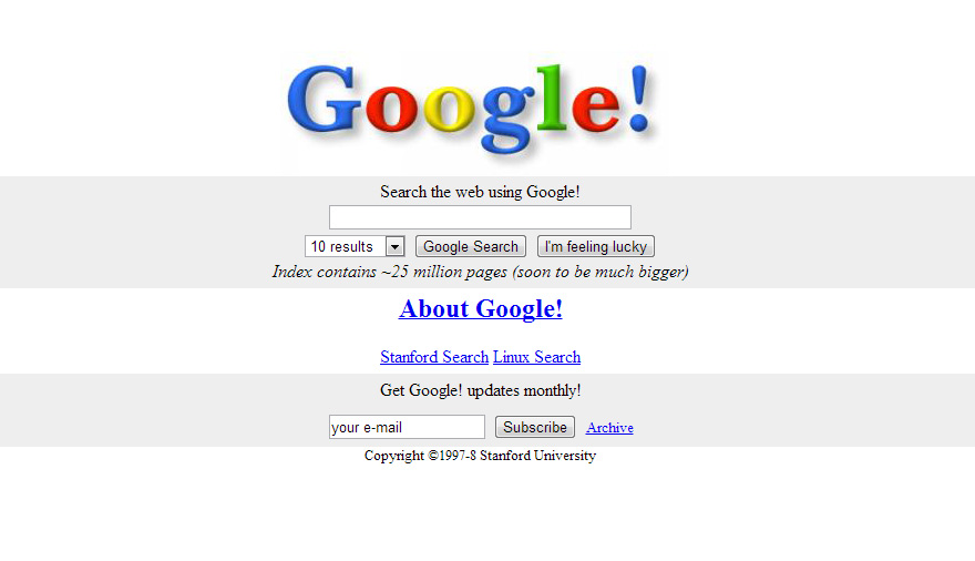 What 12 of The World's Biggest Websites Looked Like at the
